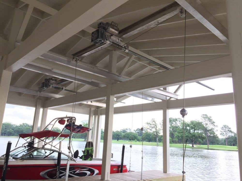 Salt Water Pontoon Boat boathouse lifts from Boat Lifts 4